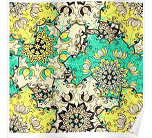Seamless mandala ornament pattern with lotus flowers in moroccan style.  Poster