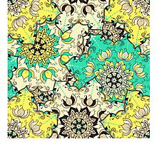 Seamless mandala ornament pattern with lotus flowers in moroccan style.  Photographic Print