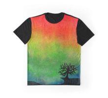 Aurora Australis with Tree Graphic T-Shirt