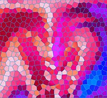 Pink Purple Blue & Magenta Abstract Mosaic Pattern  by Christina Katson
