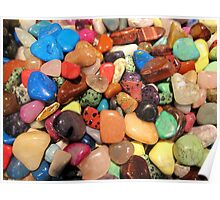 Polished gemstones rainbow colors  Poster
