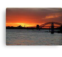Sunset over Sydney Harbour. Canvas Print
