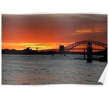 Sunset over Sydney Harbour. Poster