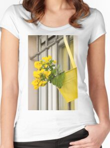 yellow flowers on the balcony Women's Fitted Scoop T-Shirt