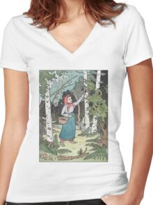 Masha picking berries Women's Fitted V-Neck T-Shirt