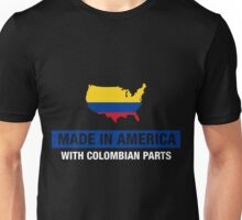 Made In America With Colombian Parts Colombia Flag Unisex T-Shirt