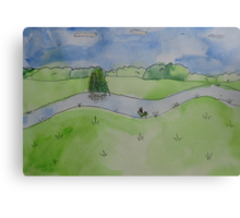 Watercolour Landscape, Erewash Canal Canvas Print