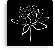 Lotus Flower Calligraphy (White) Canvas Print