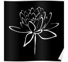 Lotus Flower Calligraphy (White) Poster
