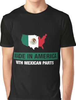 Made In America With Mexican Parts Mexico Flag Graphic T-Shirt