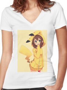 K-ON x Pikachu Women's Fitted V-Neck T-Shirt