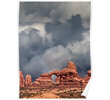 Rainbow Over Turret Arch Poster
