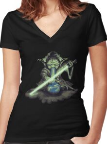 "Yoda - ""Lightsabor Bong"" Women's Fitted V-Neck T-Shirt"