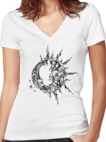 Tribal Sun and Moon Women's Fitted V-Neck T-Shirt