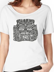 Maori Moko   Tribal Tattoo   New Zealand   Black and White Women's Relaxed Fit T-Shirt