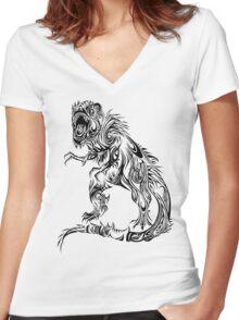 Tribal T-Rex Women's Fitted V-Neck T-Shirt