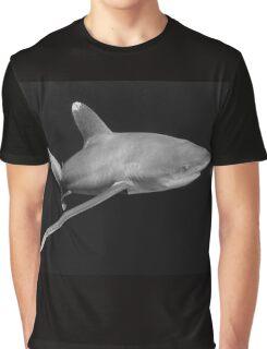 Cruising Oceanic White Tip Shark in Black and White Graphic T-Shirt