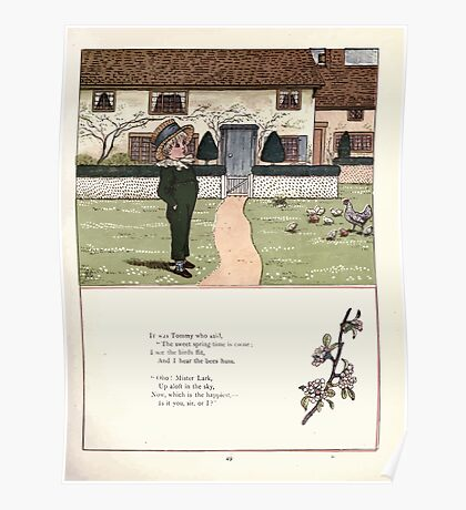 Under the Window Pictures and Rhymes for Children Edmund Evans and Kate Greenaway 1878 0053 Springtime Is Come Poster