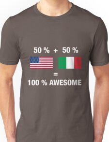 Half Italian Half American 100% Awesome Flag Italy Unisex T-Shirt