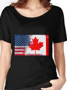 Canadian American Half Canada Half America Flag Women's Relaxed Fit T-Shirt