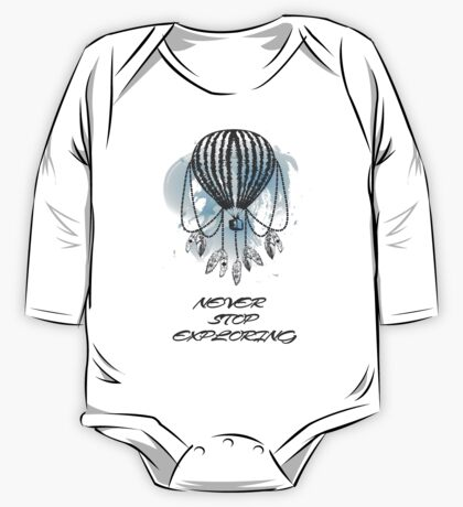 Hand-drawn balloon dream catcher with feathers. One Piece - Long Sleeve