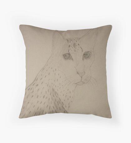 Eqyptian Mau Cat Drawing  Throw Pillow