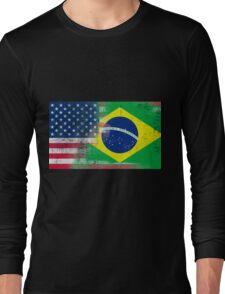Brazilian American Half Brazil Half America Flag Long Sleeve T-Shirt