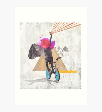 Rainbow child riding a bike Art Print