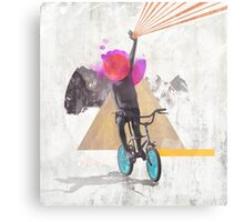 Rainbow child riding a bike Metal Print