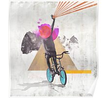 Rainbow child riding a bike Poster
