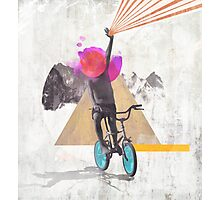 Rainbow child riding a bike Photographic Print