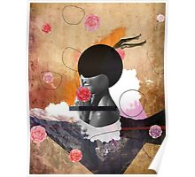 Contemporary fashionistas floral collage Poster