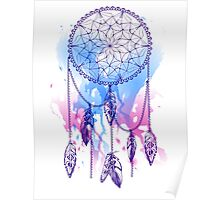 dream catcher with feathers with watercolor effect Poster