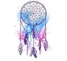dream catcher with feathers with watercolor effect Photographic Print