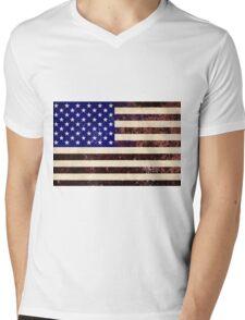American Flag Vintage Grunge Mens V-Neck T-Shirt
