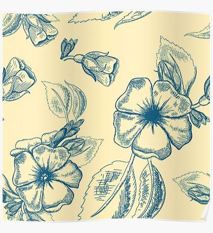 Sketch Flower Pattern Poster