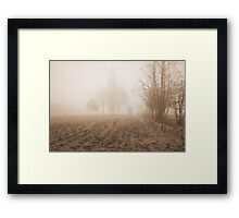 fields in the fog in winter Framed Print