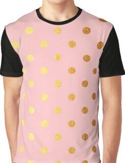 Pink and Gold Polka Dots Graphic T-Shirt