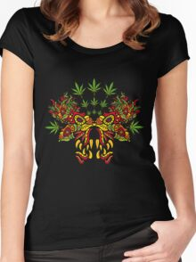 Psychedelic cannabis jungle demon Women's Fitted Scoop T-Shirt