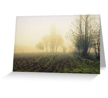 fields in the fog in winter Greeting Card