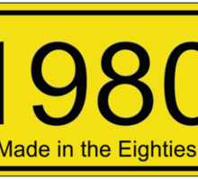 Made in the 1980s Number License Plate T-Shirt ~ Born in the Eighties Sticker