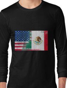 Mexican American Half Mexico Half America Flag Long Sleeve T-Shirt
