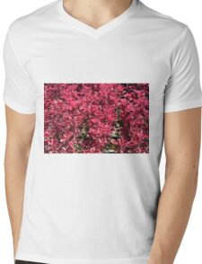 Texture with red flowers and leaves Mens V-Neck T-Shirt