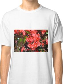 Texture with red flowers and leaves Classic T-Shirt