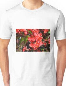 Texture with red flowers and leaves Unisex T-Shirt