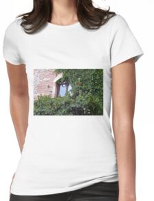 Window on a brick facade covered in leaves Womens Fitted T-Shirt