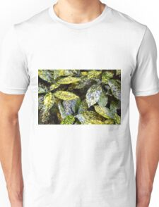 Green leaves with yellow spots texture Unisex T-Shirt