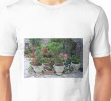 Flowers in pots on the streets of Assisi, Italy Unisex T-Shirt