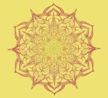 yellow and orange hand drawn mandala Kids Tee
