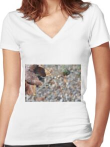 Autumn background in brown tones with dry leaf Women's Fitted V-Neck T-Shirt